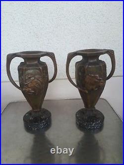 2 Anciens Vases Art Nouveau Lion Tigre Sculptes 1900 Bronze Marbre