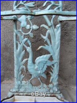 ANCIEN PORTE CANNE PARAPLUIE FONTE EMAIL XIXe ART NOUVEAU décor cygnes/roseaux
