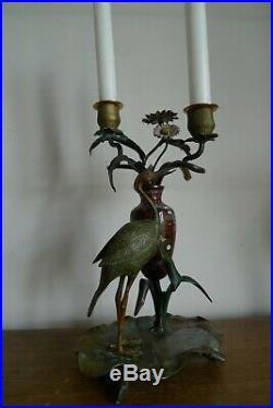 Ancien Bougeoir Decor Heron Echassier Vase Emaille Cloisonne Epoque Art Nouveau