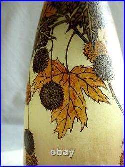 Ancien Grand vase en verre emaillé, Legras décor de marrons Art Nouveau XIXe