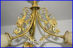 Ancien Lustre En Bronze Decor Dragon Et Pate De Verre Muller