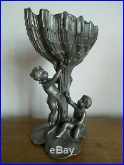 Ancien Pied Lampe A Petrole Signe Ch Perron Etain Epoque Art Nouveau Vers 1900