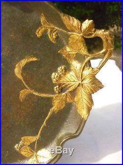 Ancien Plat Debut 20 Eme Bronze Decor Art Nouveau Signer Maurice Frecourt