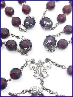 Ancien chapelet argent massif et perles couleur rouge grenats Art Nouveau 1900
