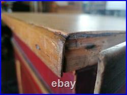 Ancien meuble à tiroirs comptoir en sapin art nouveau, 18 tiroirs, 3,50 m