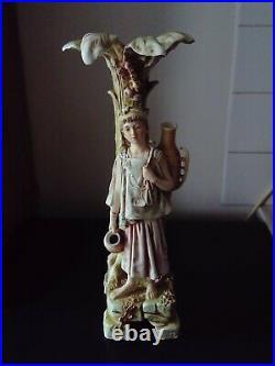 Ancien superbe vase orientaliste art nouveau en porcelaine sujet statue h45cm