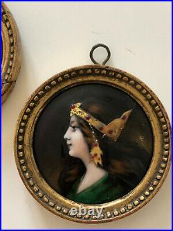 Ancienne Paire De Miniatures En Emaux De Limoges Art Nouveau