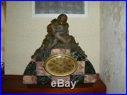 Ancienne Pendule Marbre Et Régule Art Nouveau Ou Art Déco Orologio Old Clock Uhr