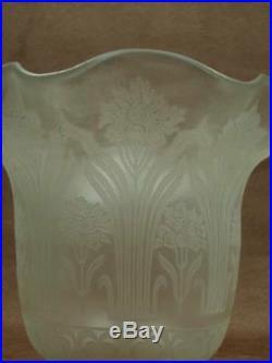 Ancienne Tulipe Pour Lampe A Petrole En Verre Decor Grave A L'acide Art Nouveau