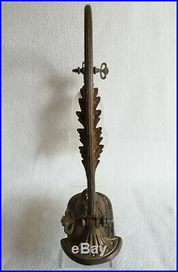 Ancienne lampe ART-NOUVEAU en bronze tulipe en verre moulé vers 1900