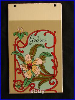 Ancienne plaque tole émaillée Art Nouveau Poele Godin Décoration Enamel Sign