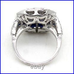 Art Déco Ancien 2 CT Diamant Rond Coupe Saphir Fiançailles Bague 14kt or Blanc