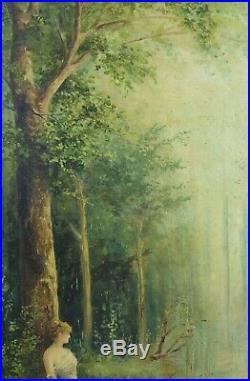 Beau Tableau ancien Femme Paysage arboré bord de rivière Forêt art nouveau