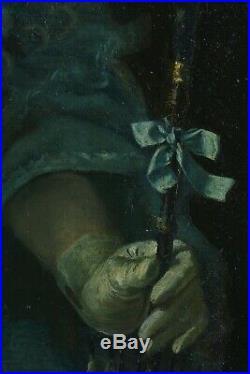 Beau Tableau ancien portrait jeune fille costume robe Mode Ombrelle Art nouveau