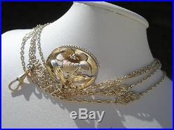 Belle Chaine/sautoir Ancienne En Plaque Or/art Nouveau/broche Nap III