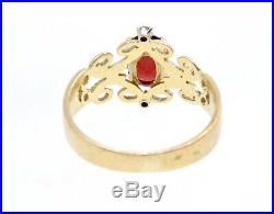 Belle bague ancienne Art Nouveau en or 18k grenat et diamants T49 1900