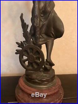Belle statue lampe pétrole ancienne signée Bruchon le progrés