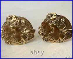 Boucles Doreilles Anciennes Art Nouveau Bronze Van Der Straeten Earrings Clip