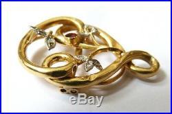 Coulant passant collier en OR et diamants ancien ART NOUVEAU gold necklace