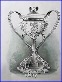 Dessin Ancien 1900 3 Projets Orfèvrerie Art Nouveau Original Drawing