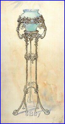 Dessin Ancien Original signé Art Nouveau, Vase