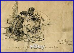 Dessin Ancien Original signé Francisque POULBOT (1879-1946) Circoncision, Juif