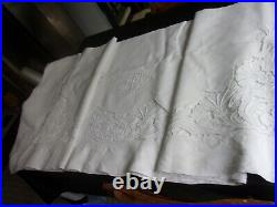 Drap ancien art nouveau brodé richelieu volubilis pur lin tbe 295x230 monog JM