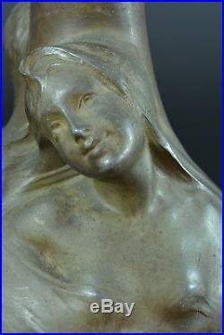 GRAND VASE Ancien ART NOUVEAU Symboliste HELENE SIBEUD Mucha jugenstil 1900 x 2