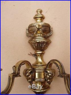 Importante ancienne paire d'appliques en bronze Louis XVI Etat de marche