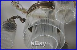 Lampe Art Suspension Deco Antique Belle De Verre Rare Ancien Plafonnier Forme