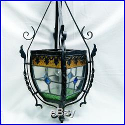 Lanterne Ancienne Fer Forge 4 Vitraux Vitrail Emaillé Suspension 68 Hauteur