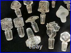 Lot de bouchons anciens pour flacons sels perfum en cristal ou verre Art Nouveau
