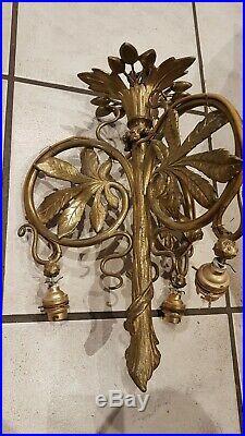 Lustre Bronze Art Nouveau Monture Ancienne Style Majorelle