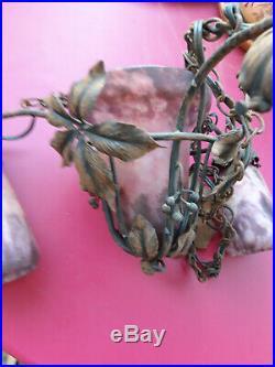 Lustre ancien DAUM NANCY Pâte de Verre, Fer forgé Art Nouveau- 3 Tulipes