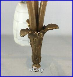 Lustre ancien en bronze / laiton art nouveau 1900 à trois tulipes (art deco)