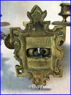 Paire D Appliques Ancienne En Bronze Signées Muller De Style Louis XVI