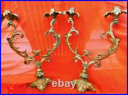 Paire De Bougeoirs Ancien En Bronze Doré Art Nouveau Antiquité Déco XIX