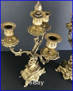 Paire De Bougeoirs Anciens En Bronze Doré A 4 Branches De 42 CM De Haut