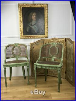 Paire De Fauteuils Cannés Anciens Style Louis XVI Patinés Vert Des Années 1900
