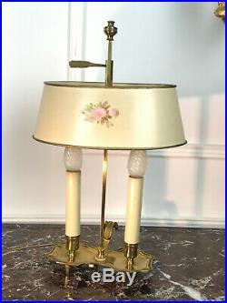 Paire De Lampes Bouillotte Anciennes En Bronze Avec Abat Jour Reglabe En Tôle