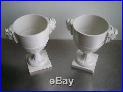 Paire Pots Faience Blanche Ancien Decor Mascarons Feminin Niderviller Ceramique