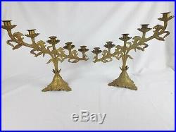 Paire anciens candélabre d'autel déglise art nouveau bronze 5 feux 1920