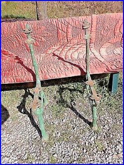 Paire d'anciens pieds-banc en fonte-motifs végétaux Art-Nouveau-Guimard/Eiffel