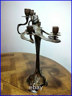 Paire de statues/bougeoirs en forme de femme, style Art Nouveau, ancien