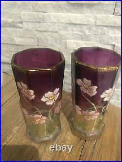 Paire vase ancien émaillé Art Nouveau Legras Fleurs Or