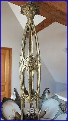 RARE Ancien Grand LUSTRE Bronze // MULLER FRERES LUNEVILLE // Art Nouveau 1900