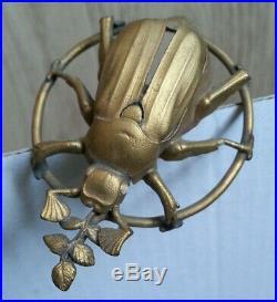 RARE BELLE ancienne EPINGLE A CHAPEAU SCARABEE INSECTE FEUILLES doré ART NOUVEAU