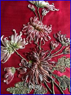 Rare Ancienne Passementerie Broderie De Fleurs Au Lacet De Soie