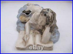 Rare ancien ENCRIER porcelaine art nouveau signé statuette femme biscuit -VF1207