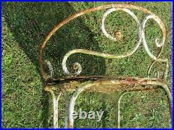 Rare et ancien tabouret / chaise de jardin en métal. Epoque 1900